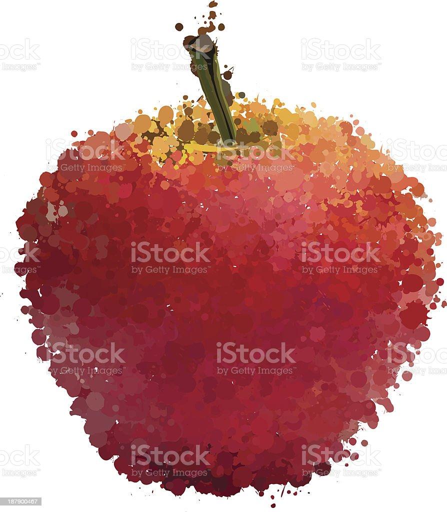 Maçã vermelha de blots vetor isolada no branco vetor e ilustração royalty-free royalty-free