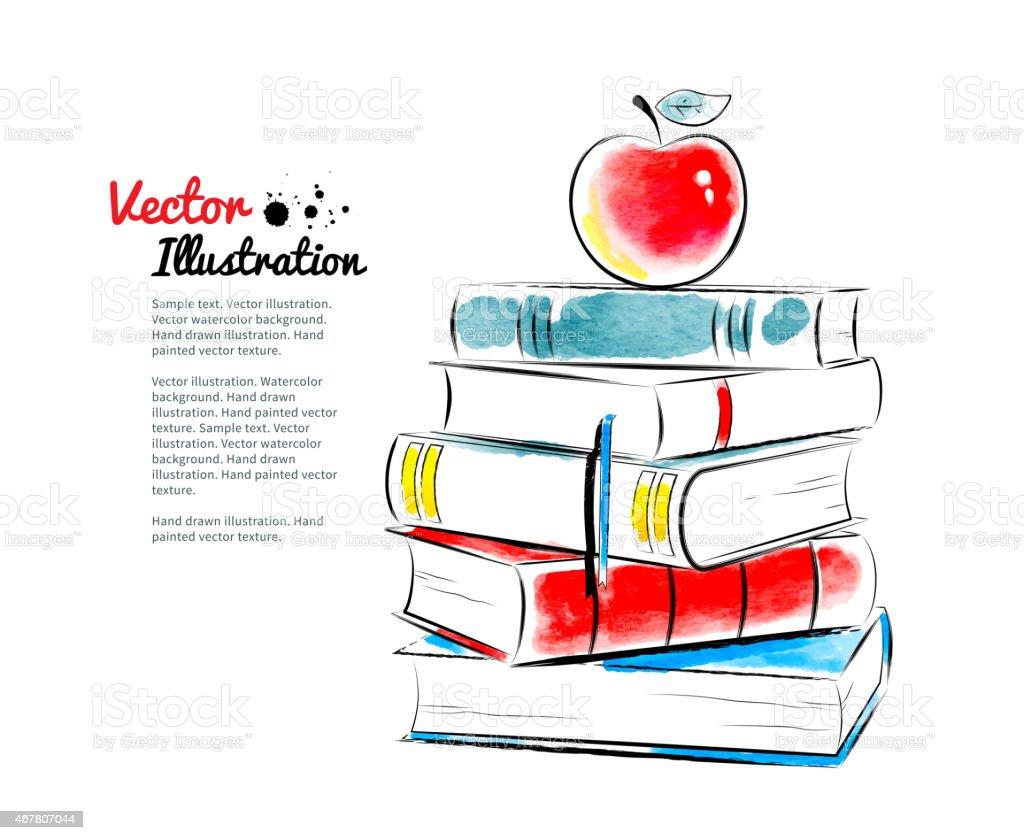 Red apple on books. vector art illustration