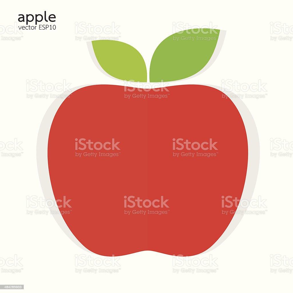 Red apple paper style on white background vector illustration vector art illustration