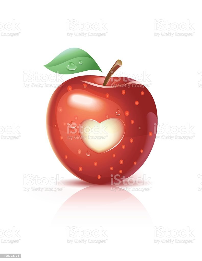 Red Apple With A Heart royalty-free stock vector art