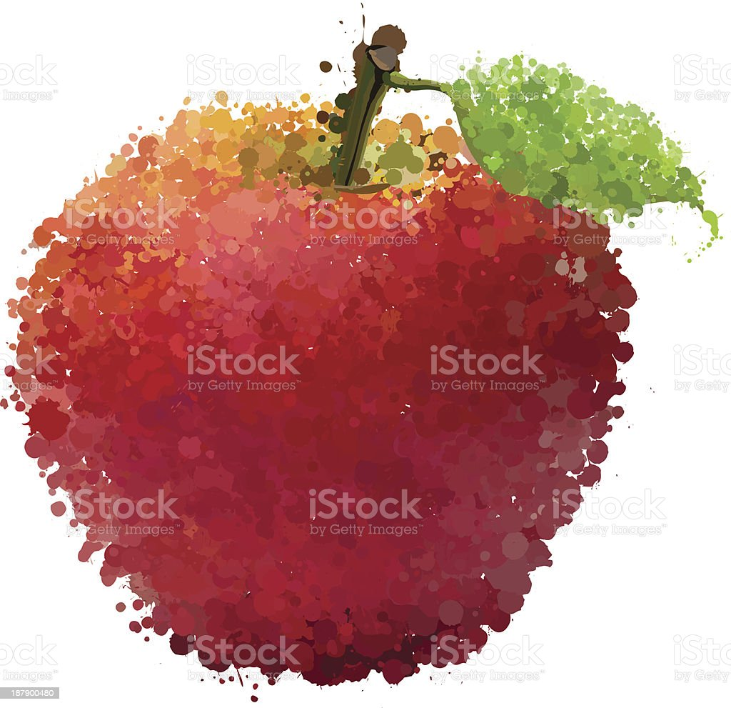 Red apple with leaf of blots vector royalty-free stock vector art
