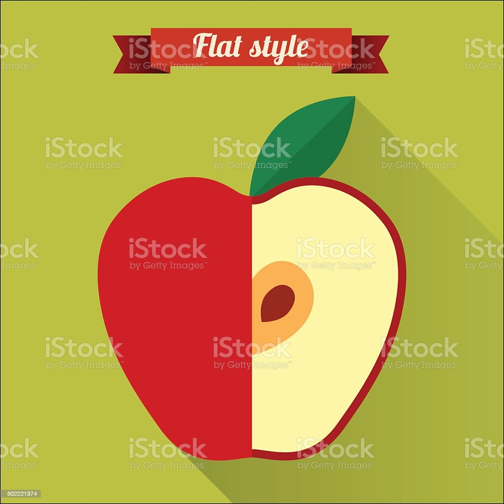 Red applel flat icon with long shadow. vector art illustration