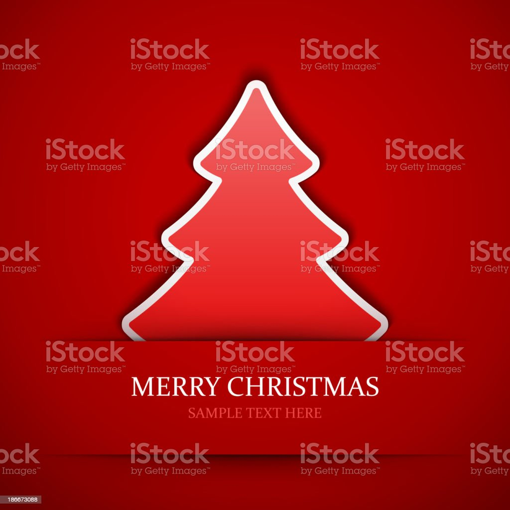 Red applique vector background of a red Christmas tree royalty-free stock vector art