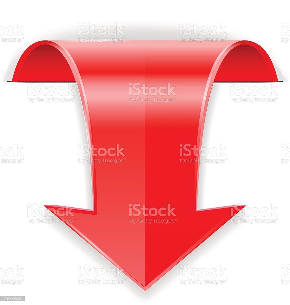 Red arrow.  Down sign vector art illustration