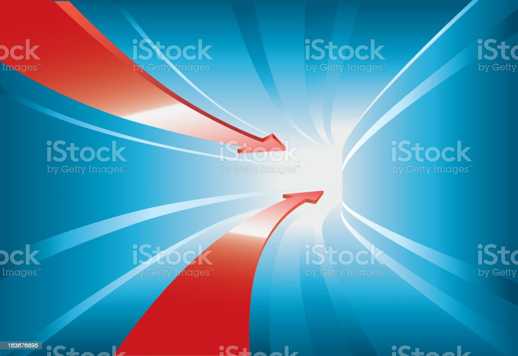 Red arrow through the blue tunnel royalty-free stock vector art