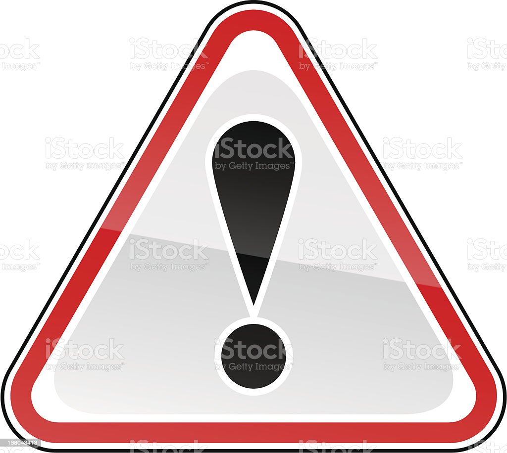 Red attention sign black exclamation mark pictogram warning triangular shape royalty-free stock vector art