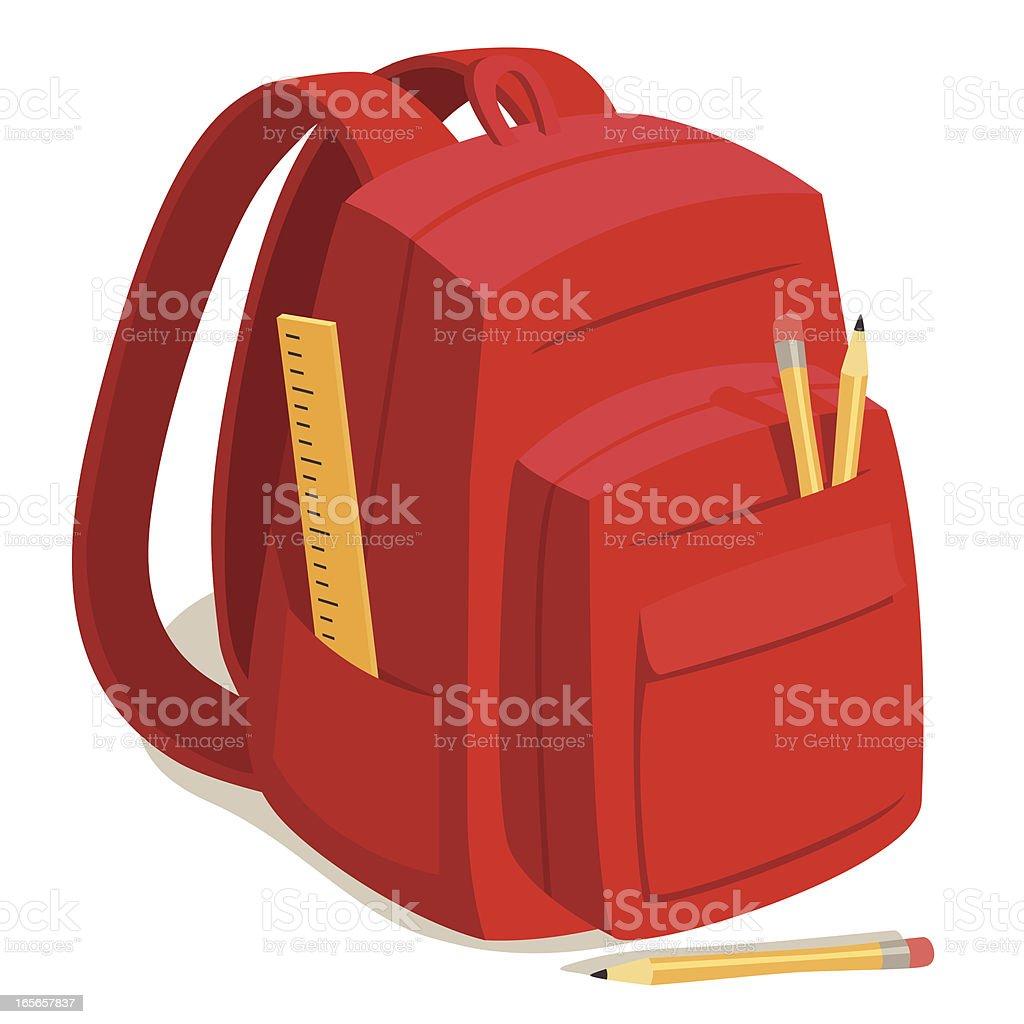 Red Back to School Backpack vector art illustration