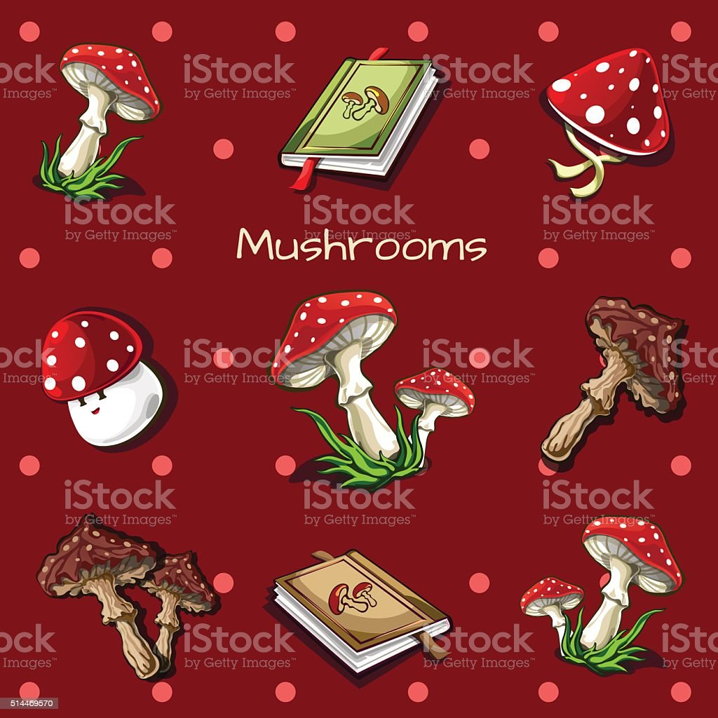 Red background with mushrooms and book vector art illustration