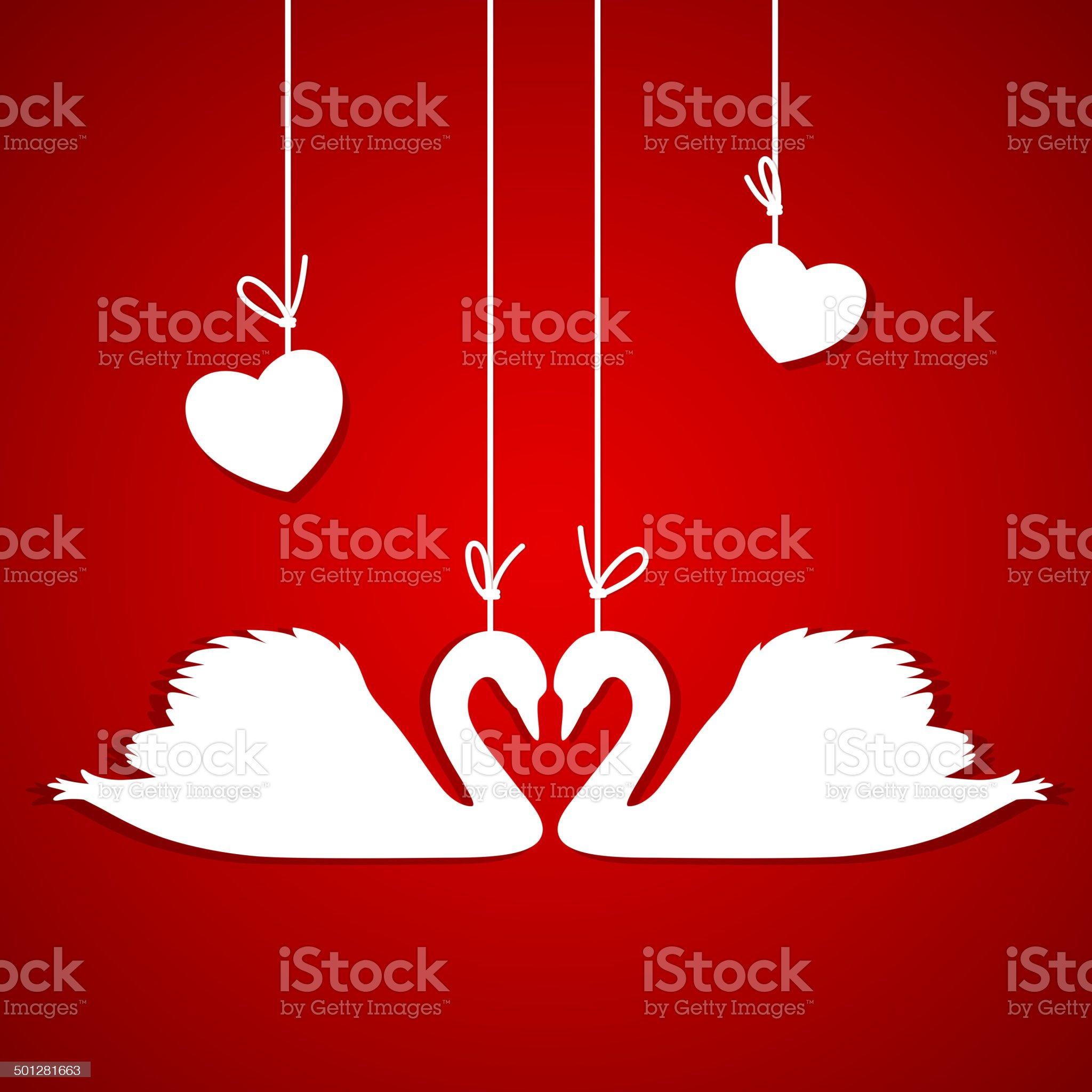 Red background with two white swans and hearts royalty-free stock vector art