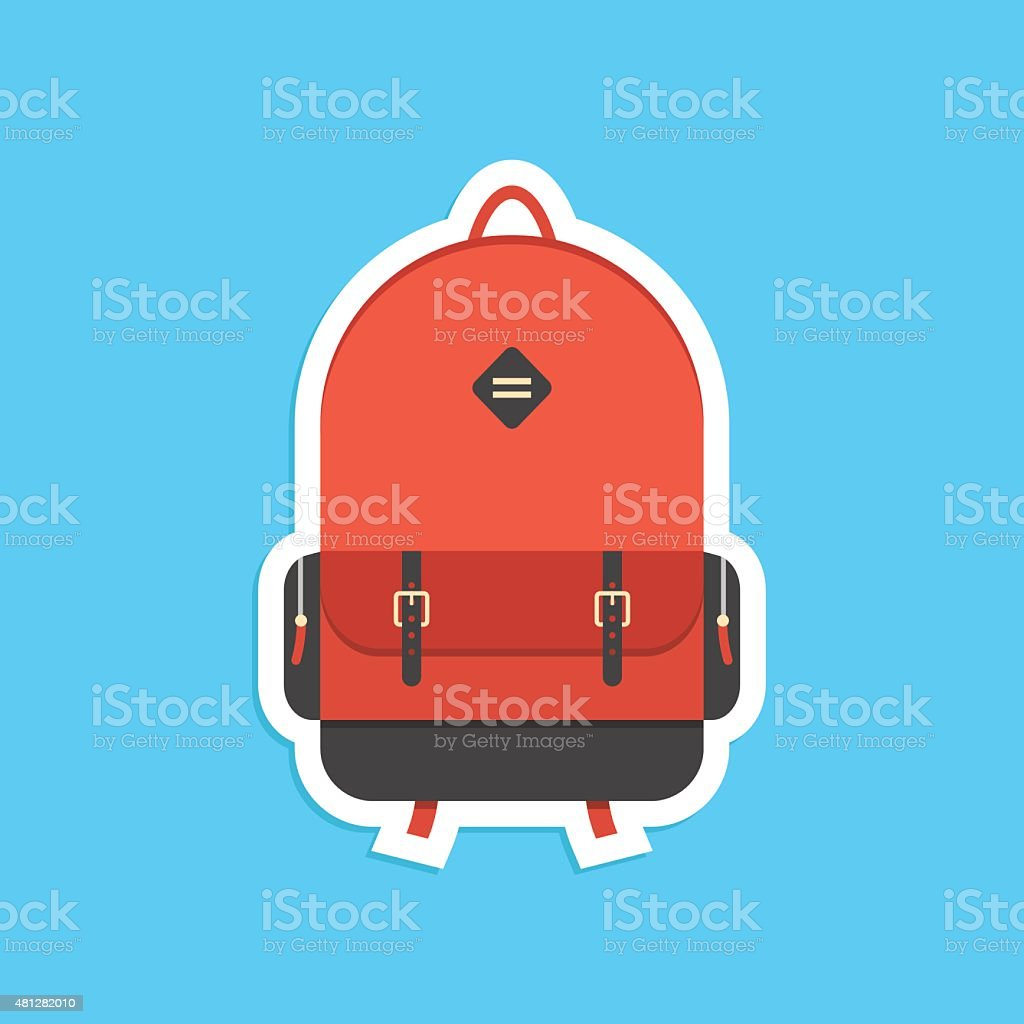 red backpack sticker with shadow vector art illustration