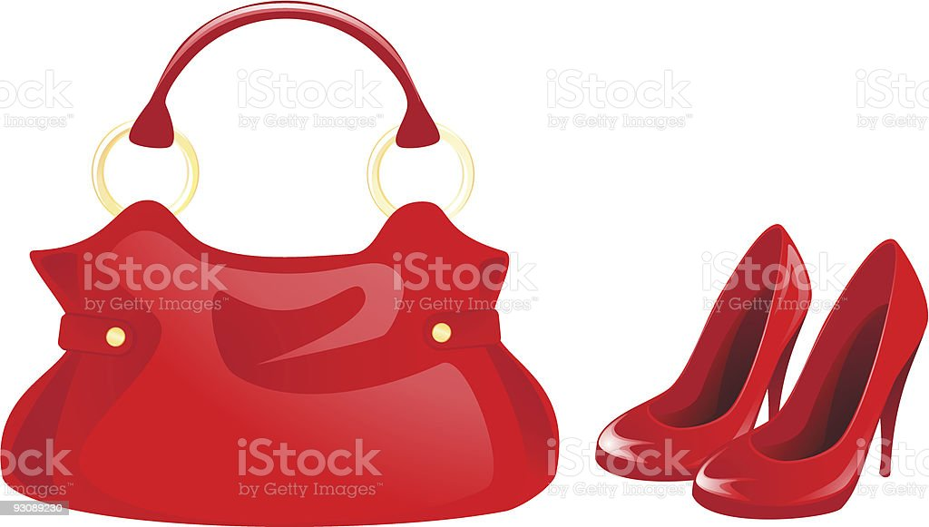 Red bag and shoes vector art illustration