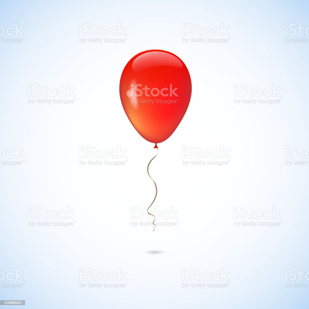 Red balloon isolated on white background vector art illustration