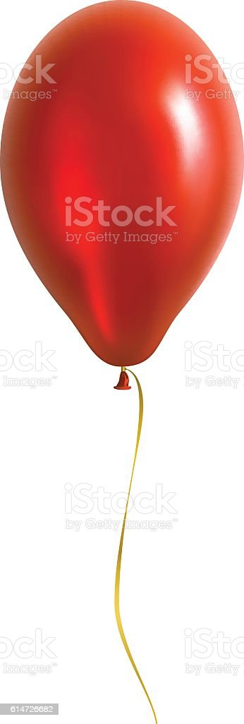 Red Balloon with Yellow Ribbon vector art illustration