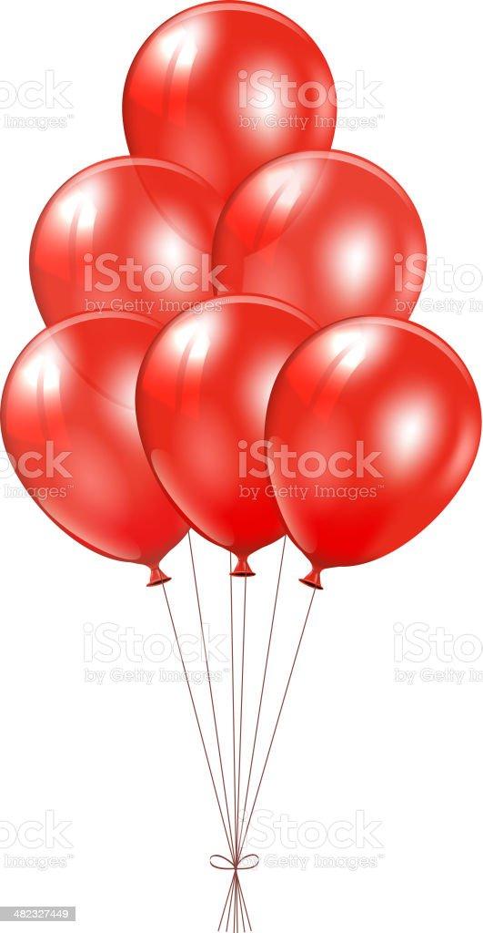 Red balloons vector art illustration