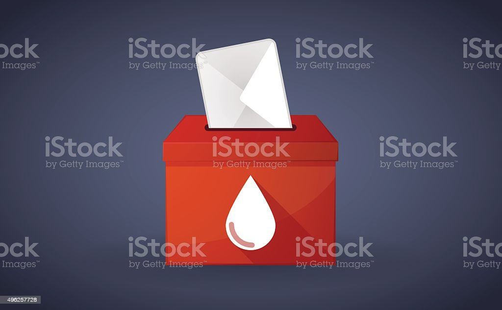 Red ballot box with a blood drop vector art illustration