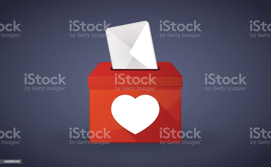 Red ballot box with a heart vector art illustration