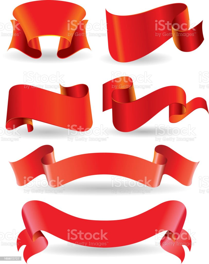 Red banner set royalty-free stock vector art