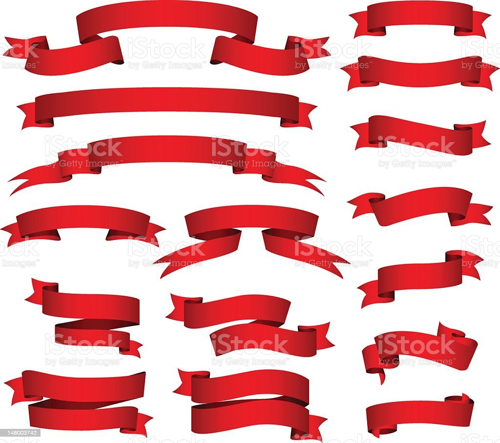 Red banners and ribbons set stock photo