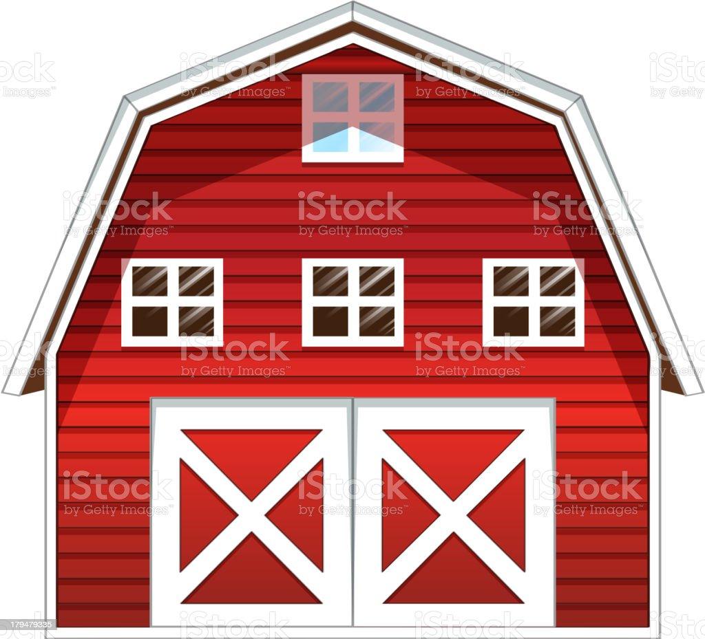 Red barn house vector art illustration