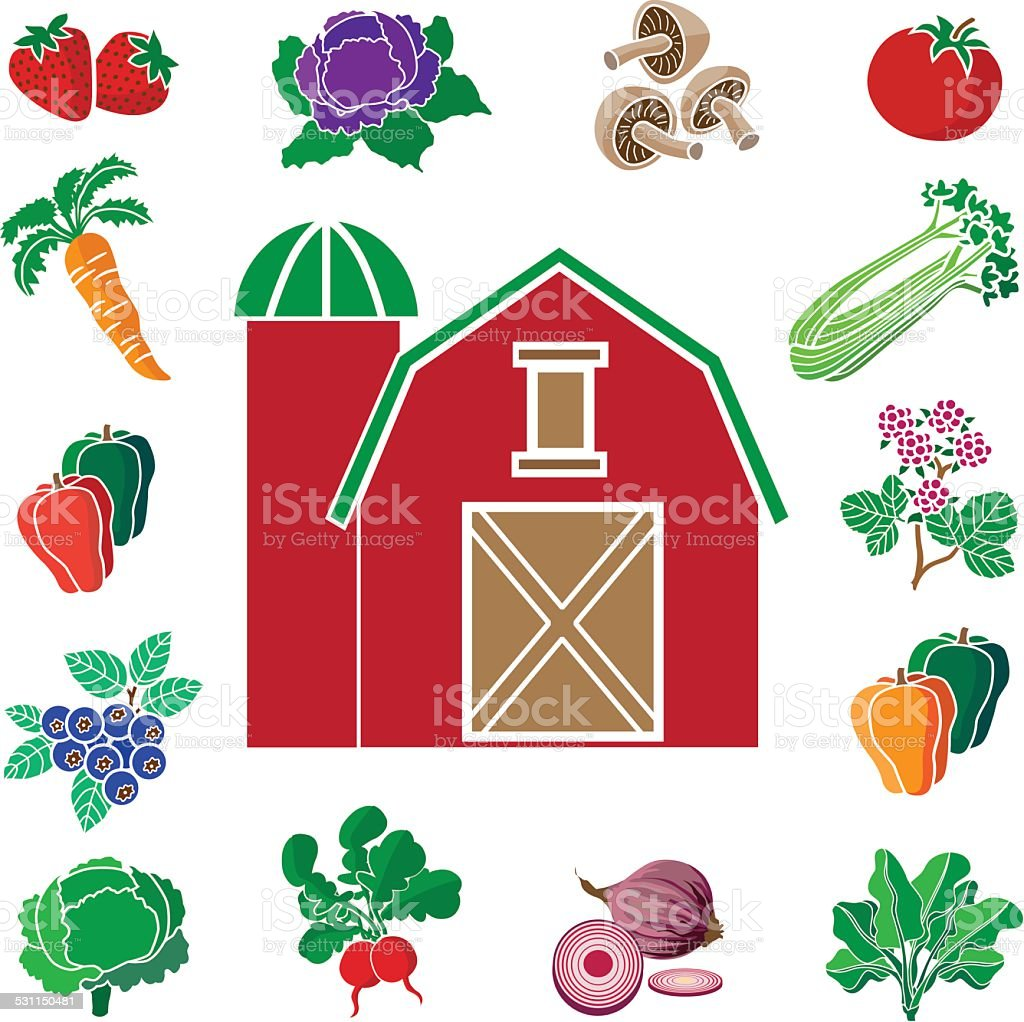 red barn with design border of produce from the farm vector art illustration