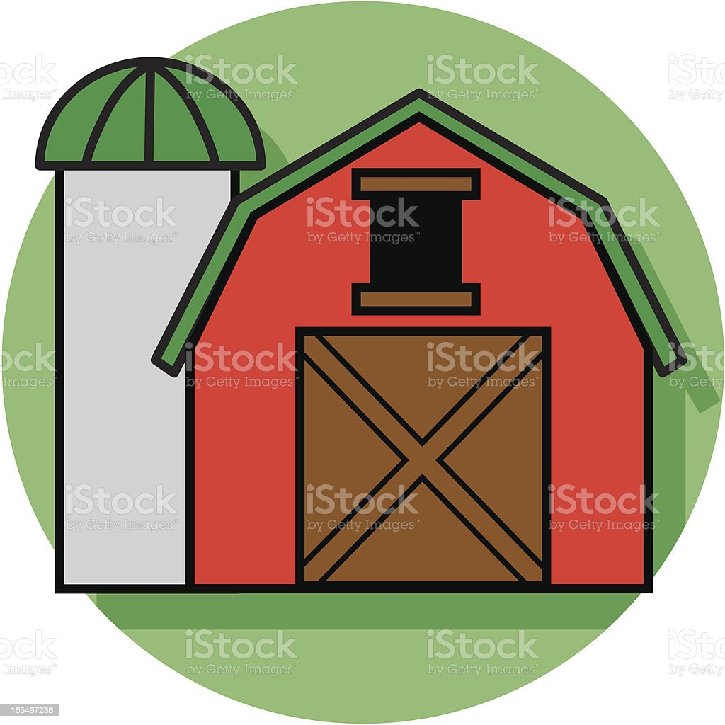 red barn with silo royalty-free stock vector art
