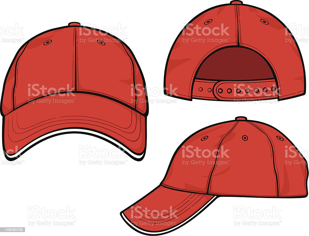 Red baseball cap vector art illustration