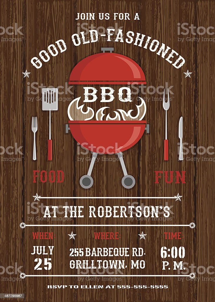 Red BBQ Grill Invitation vector art illustration