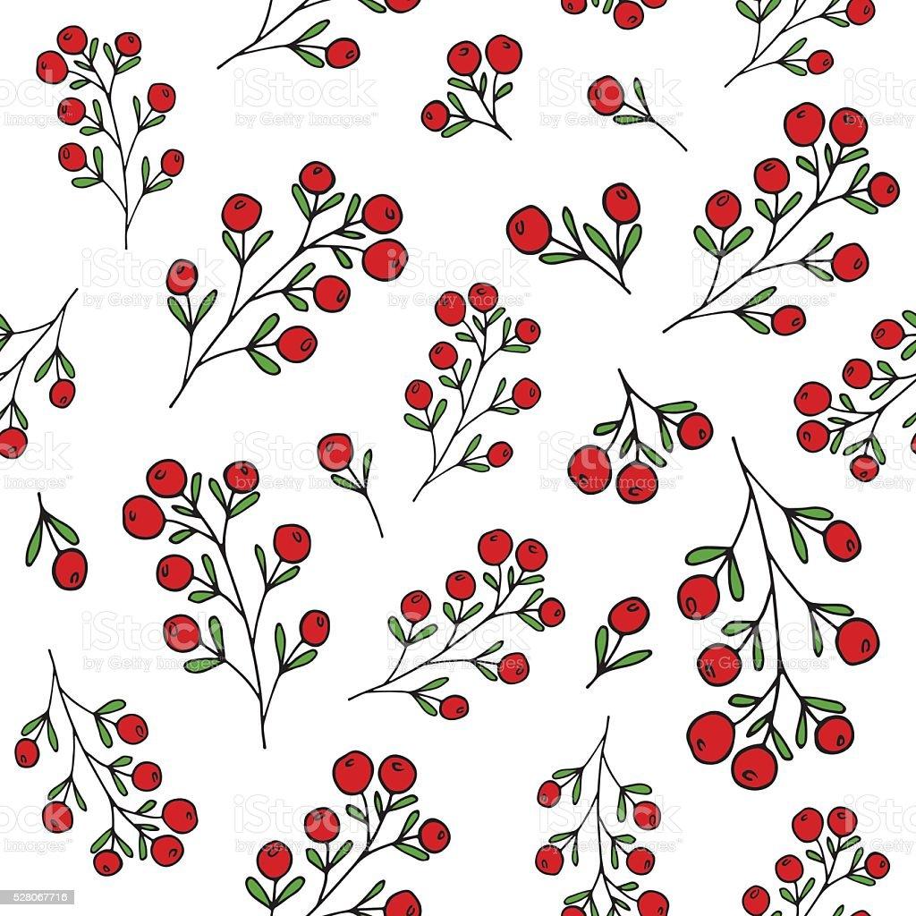 Red berries pattern. Vector seamless pattern vector art illustration