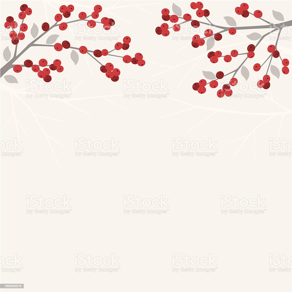Red berry branches in winter royalty-free stock vector art