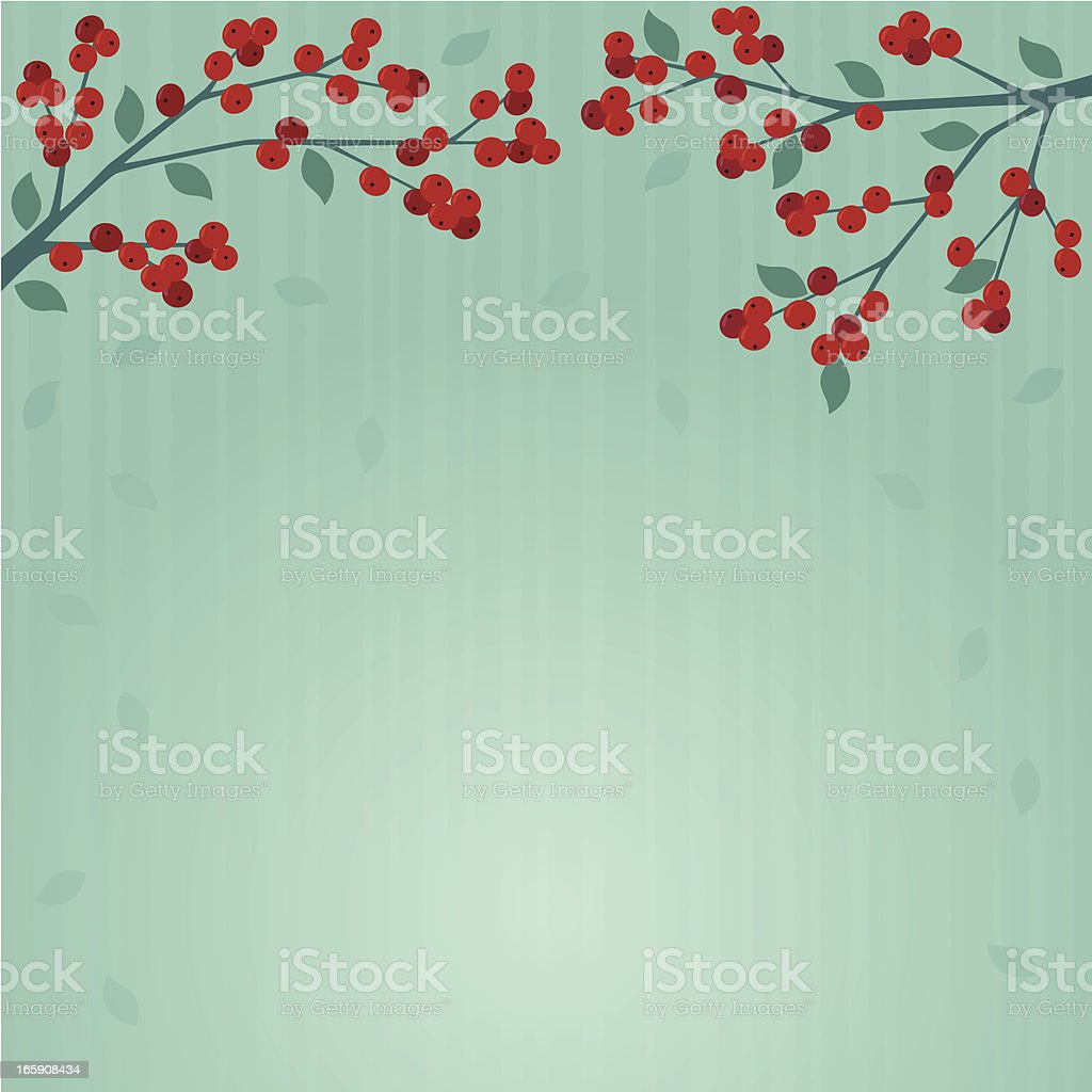 Red berry branches on teal royalty-free stock vector art