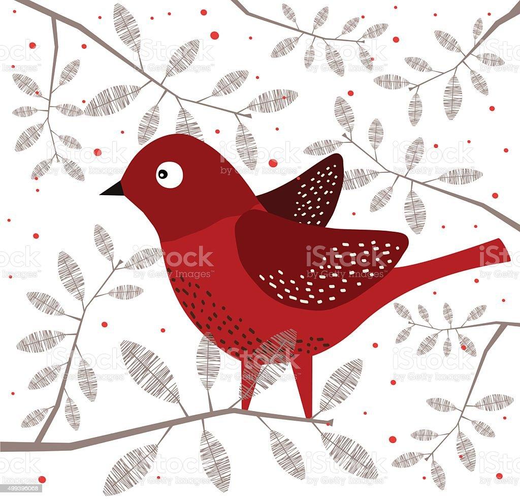 Red Bird On Branch vector art illustration