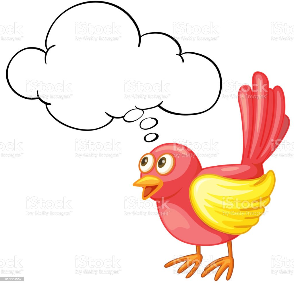 Red bird thinking royalty-free stock vector art