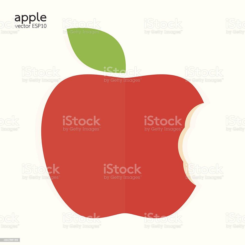 Red bitten apple on white background vector illustration vector art illustration