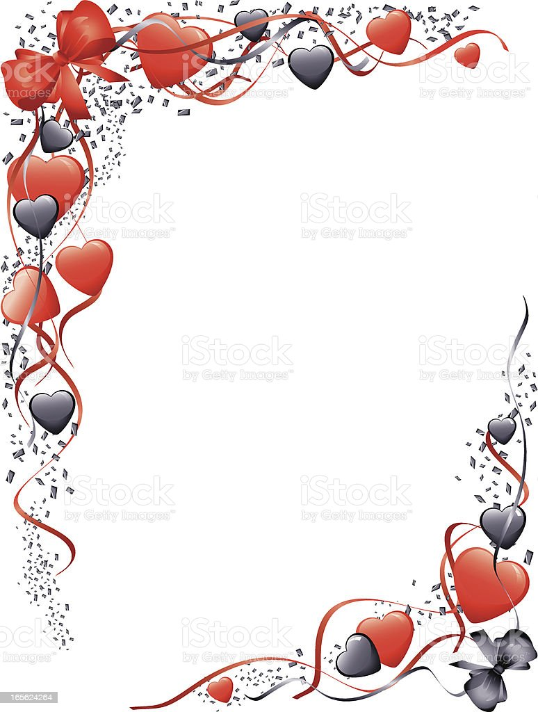 Red Black Bows and Hearts Valentines Corners royalty-free stock vector art