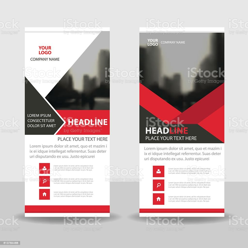 red black business roll up banner flat design template abstract 1 credit