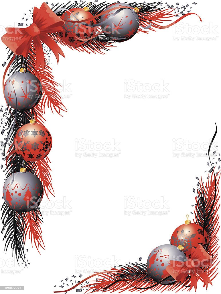 Red Black christmas Bauble ribbon strand royalty-free stock vector art