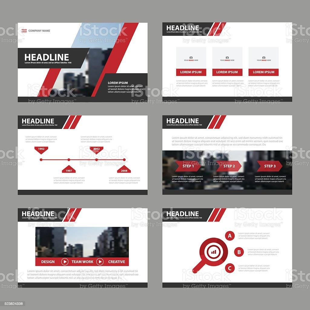 赤ブラックのプレゼンテーションテンプレートインフォグラフィック要素フラットデザインセット ベクターアートイラスト