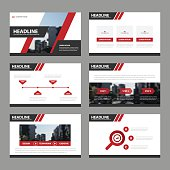 Red Black presentation templates Infographic elements flat design set
