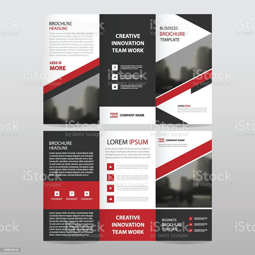 Red black triangle business trifold Leaflet Brochure Flyer report template vector art illustration