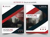 Red Black Vector annual report Leaflet Brochure Flyer template design