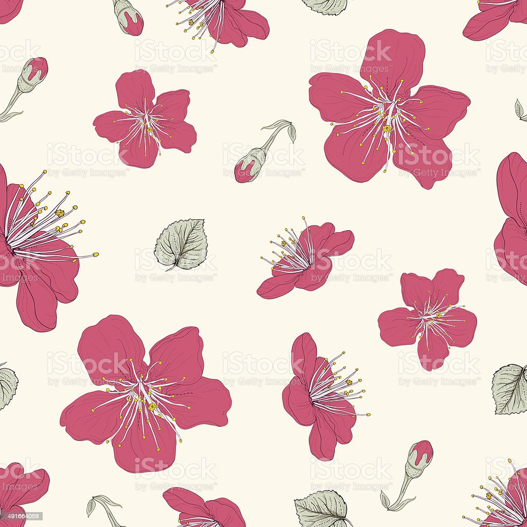 red blossoms seamless pattern royalty-free stock vector art