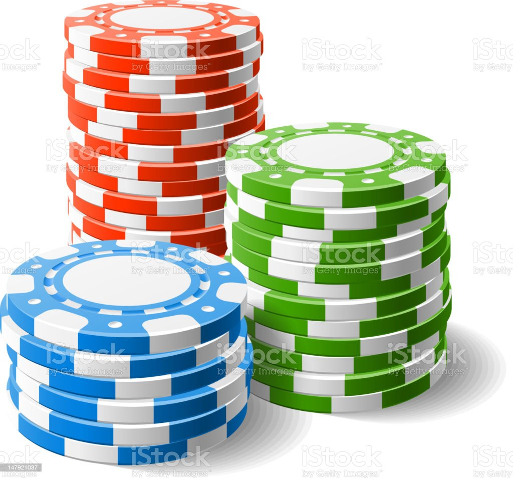 Red, blue, and green stacked casino chips vector art illustration
