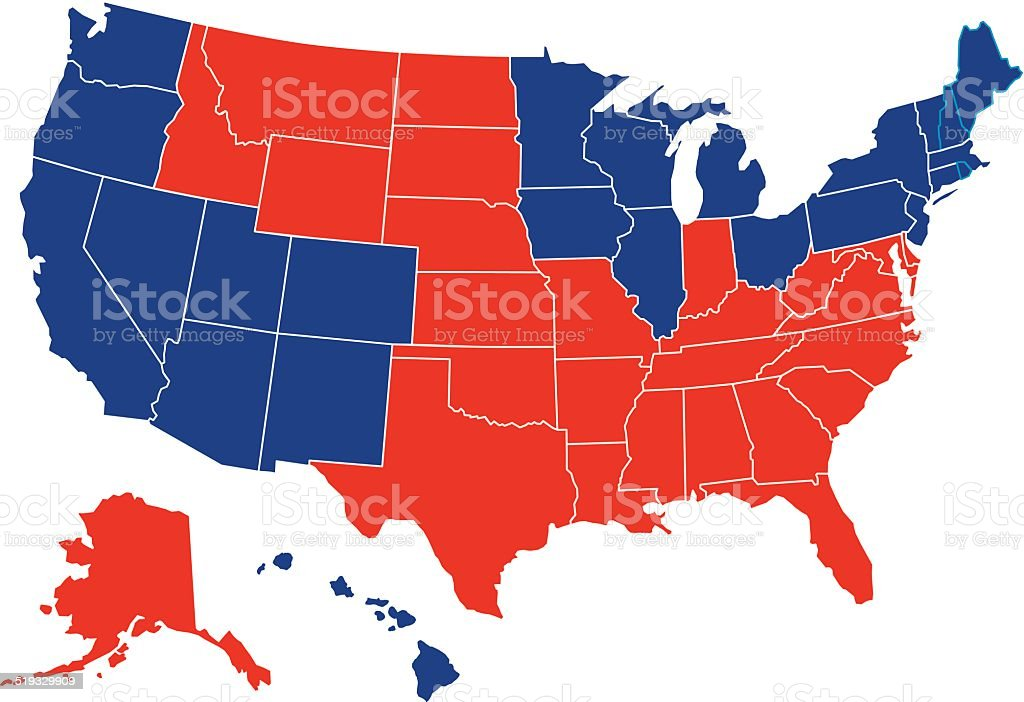 USA Red Blue Map All Fifty States vector art illustration