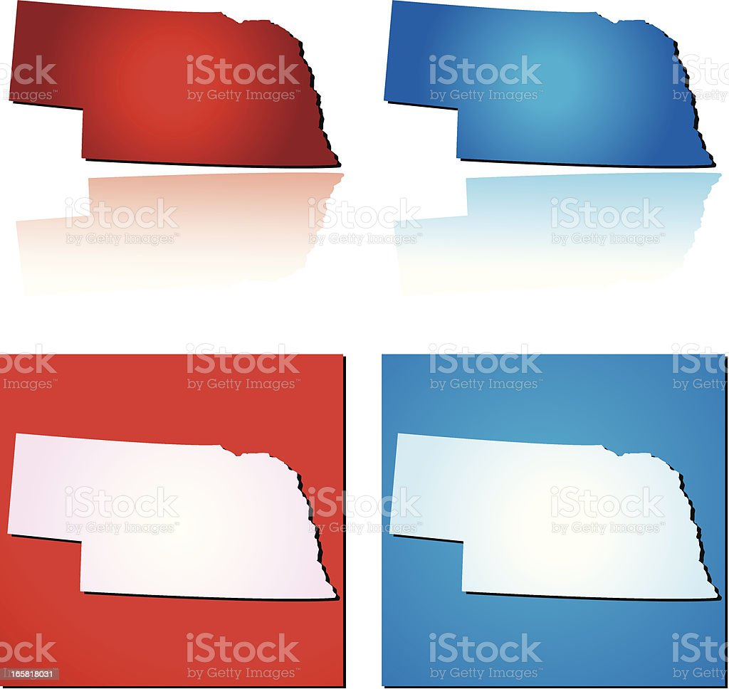 Red Blue Nebraska royalty-free stock vector art