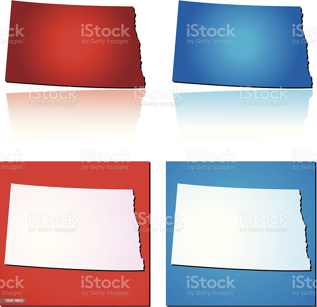 Red Blue North Dakota royalty-free stock vector art