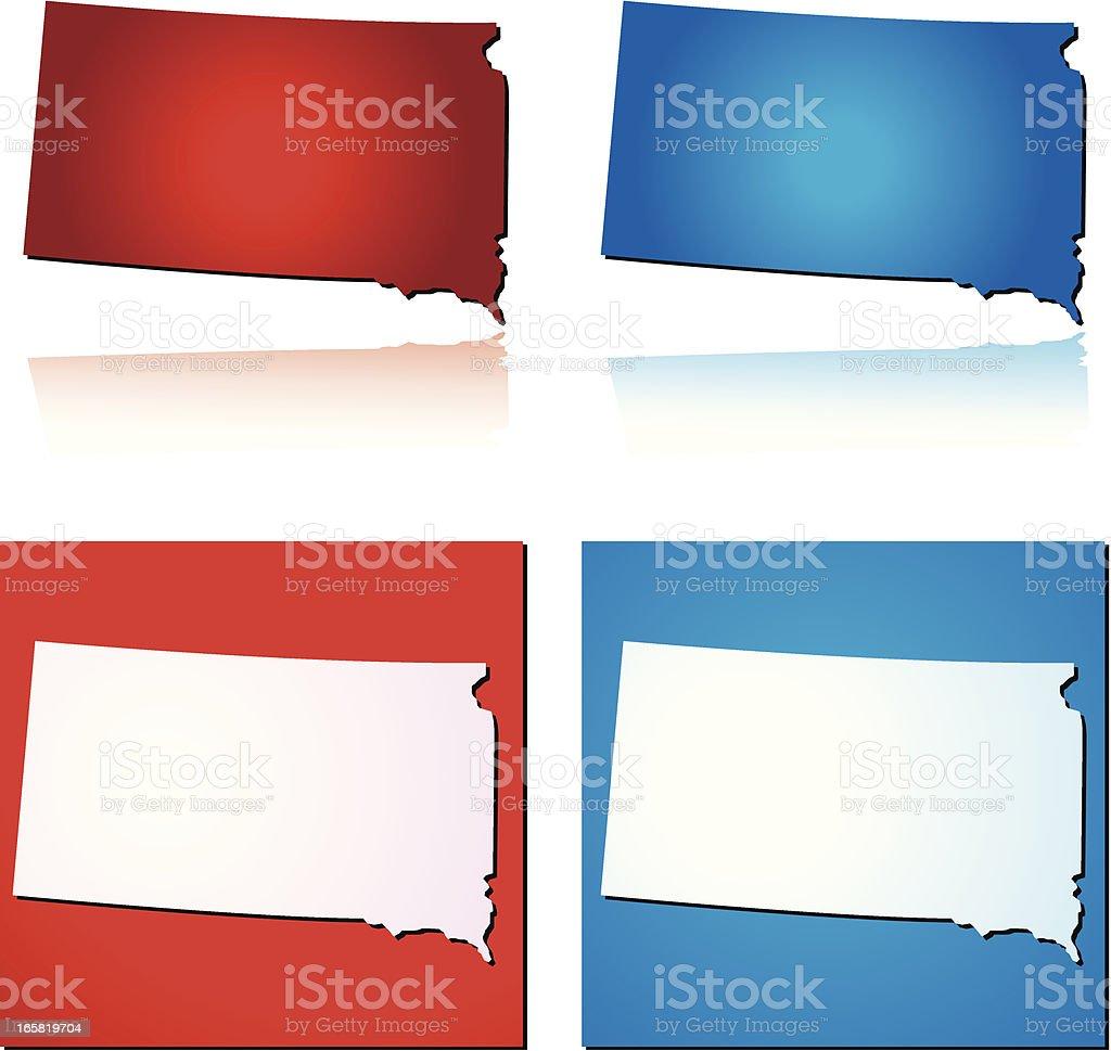 Red Blue South Dakota royalty-free stock vector art