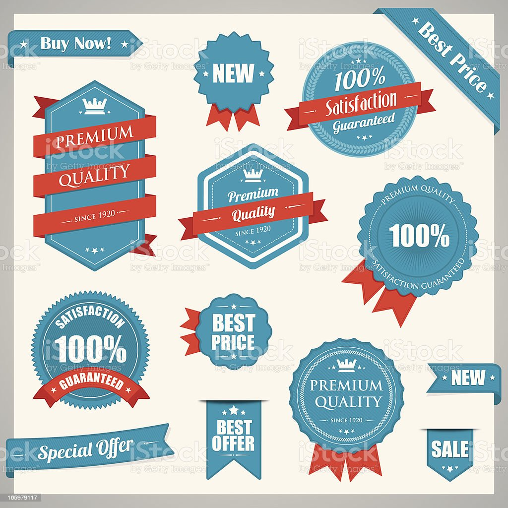 Red blue vintage badges vector art illustration