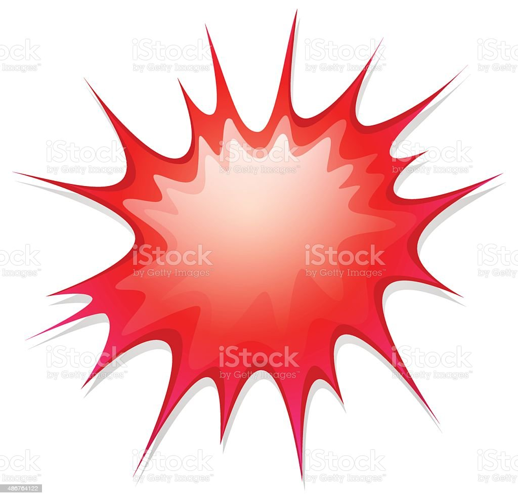 Red boom shape on white background vector art illustration