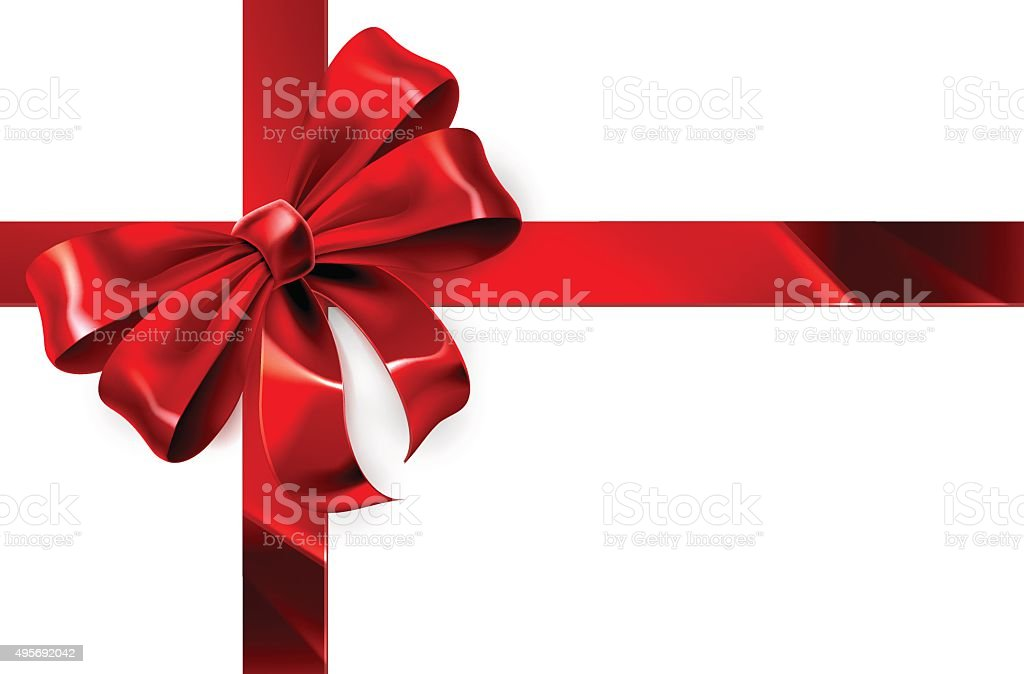 Red Bow Gift Background vector art illustration