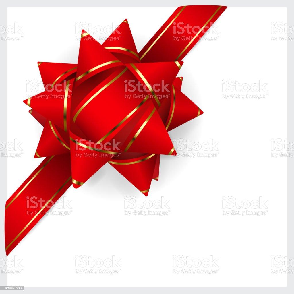 Red bow of ribbon vector art illustration